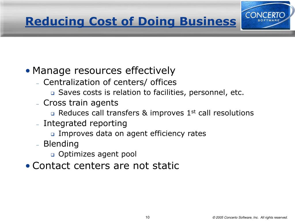 Reducing Cost of Doing Business