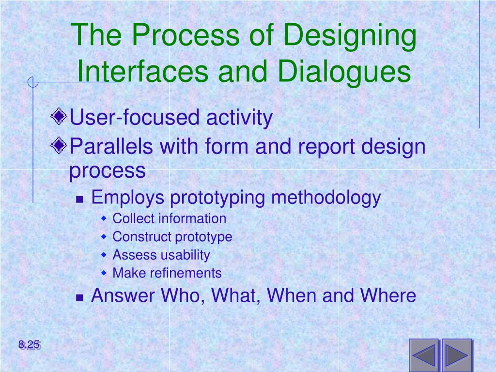 The Process of Designing Interfaces and Dialogues