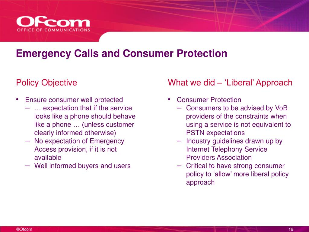 Emergency Calls and Consumer Protection