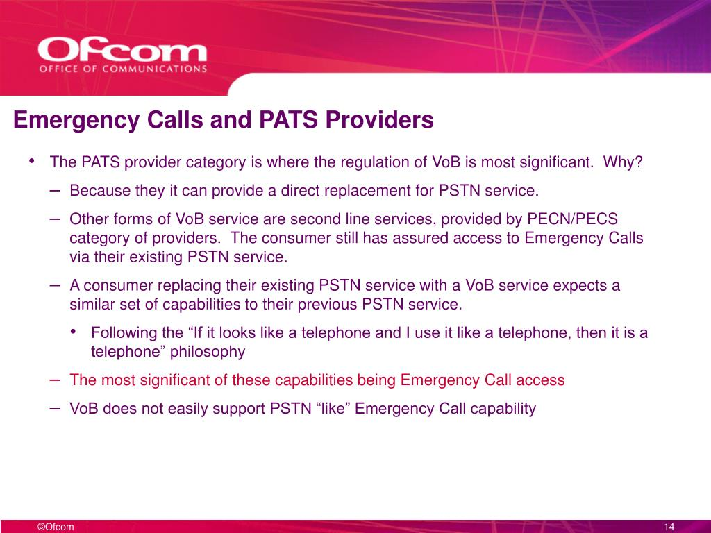 Emergency Calls and PATS Providers