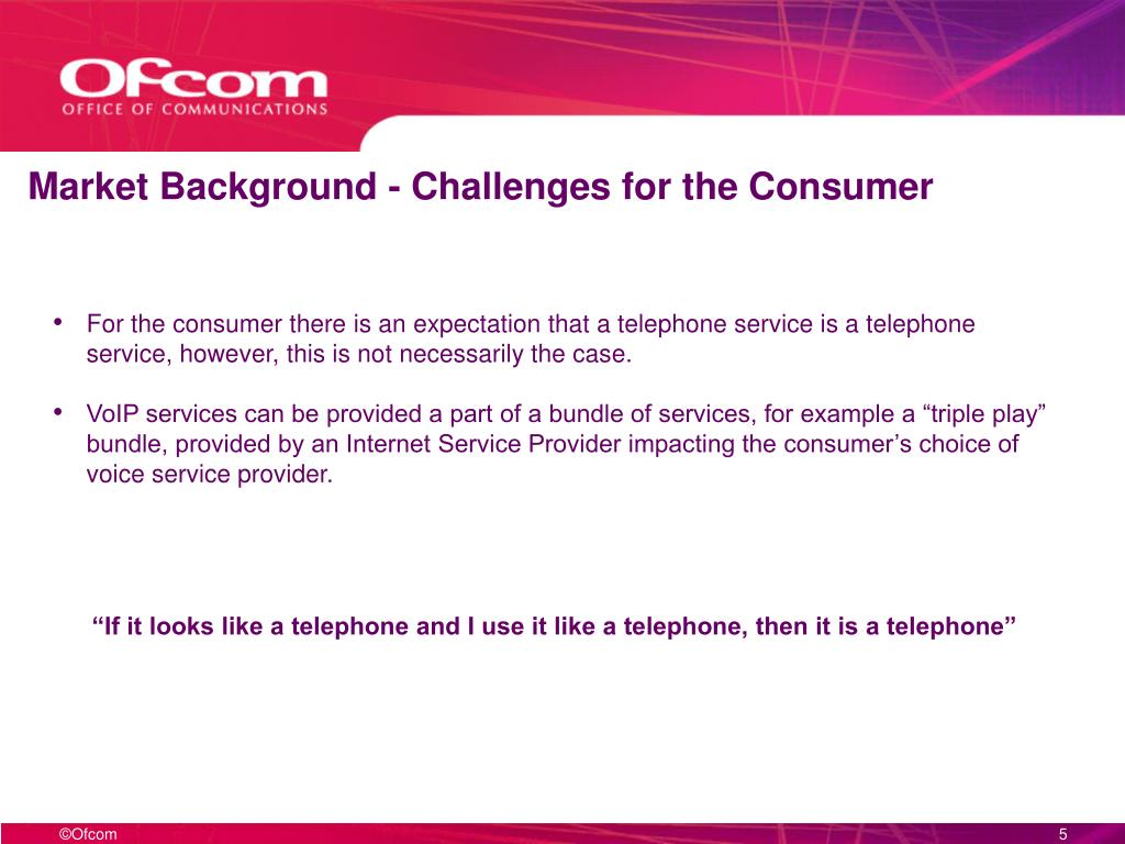 Market Background - Challenges for the Consumer