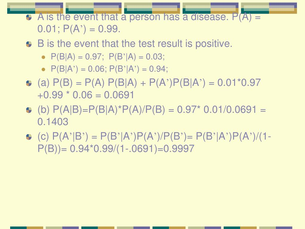 A is the event that a person has a disease. P(A) = 0.01; P(A