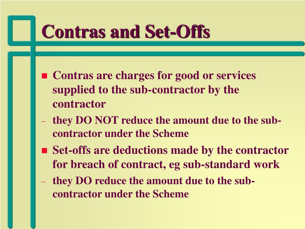 Contras and Set-Offs