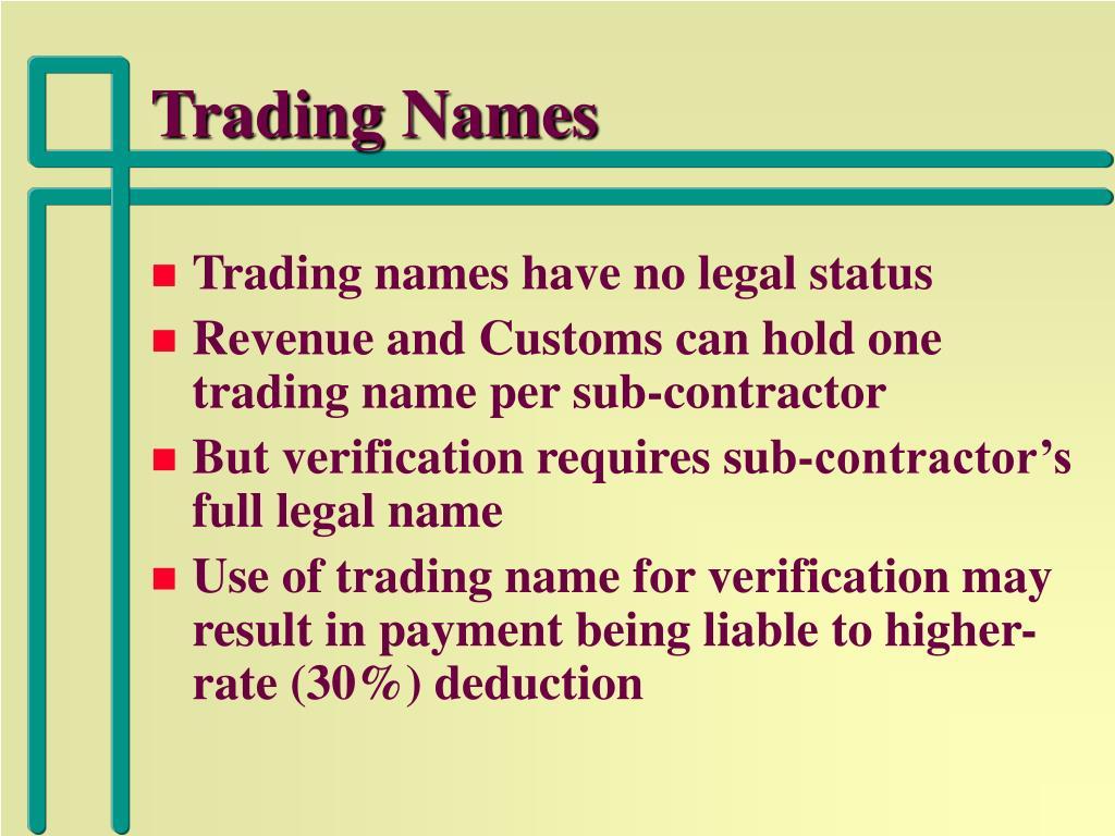 Trading Names