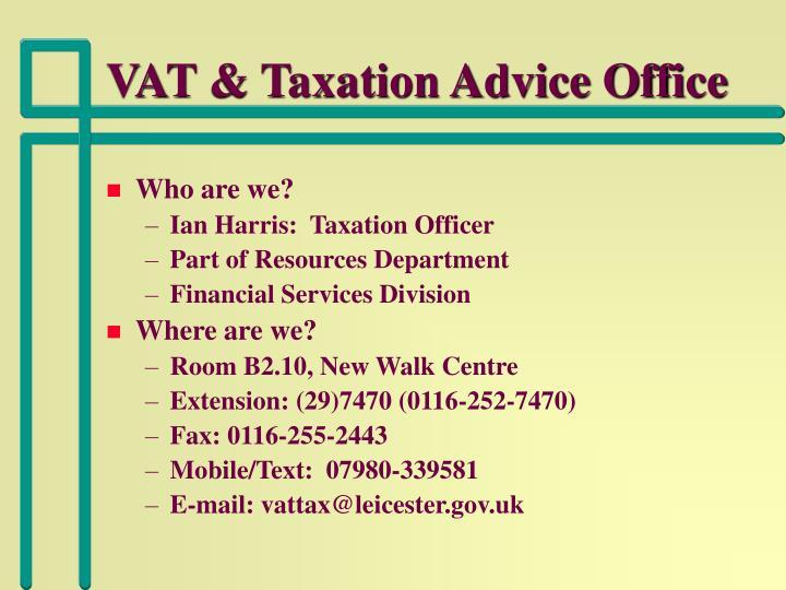 Vat taxation advice office