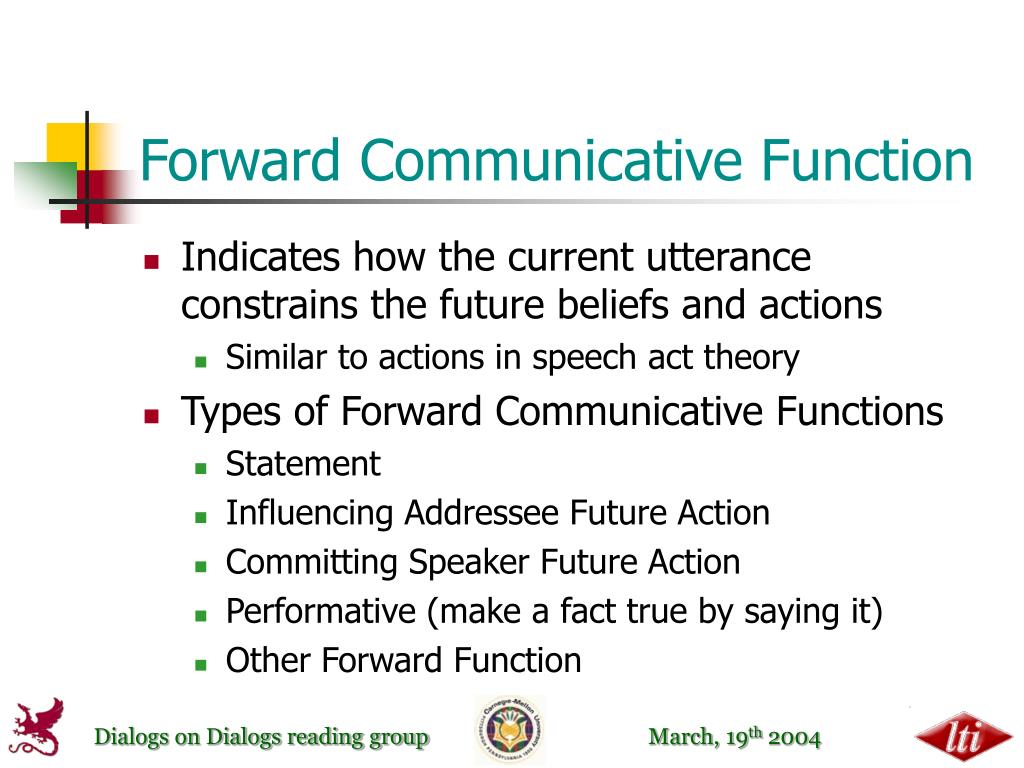 Forward Communicative Function