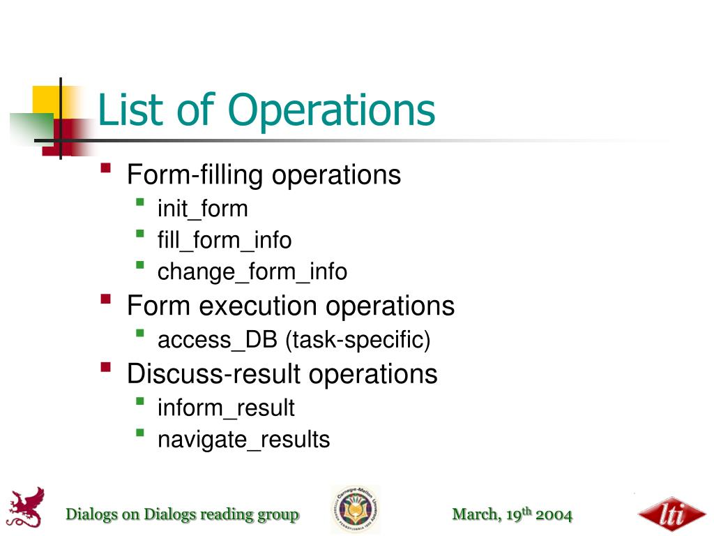 List of Operations