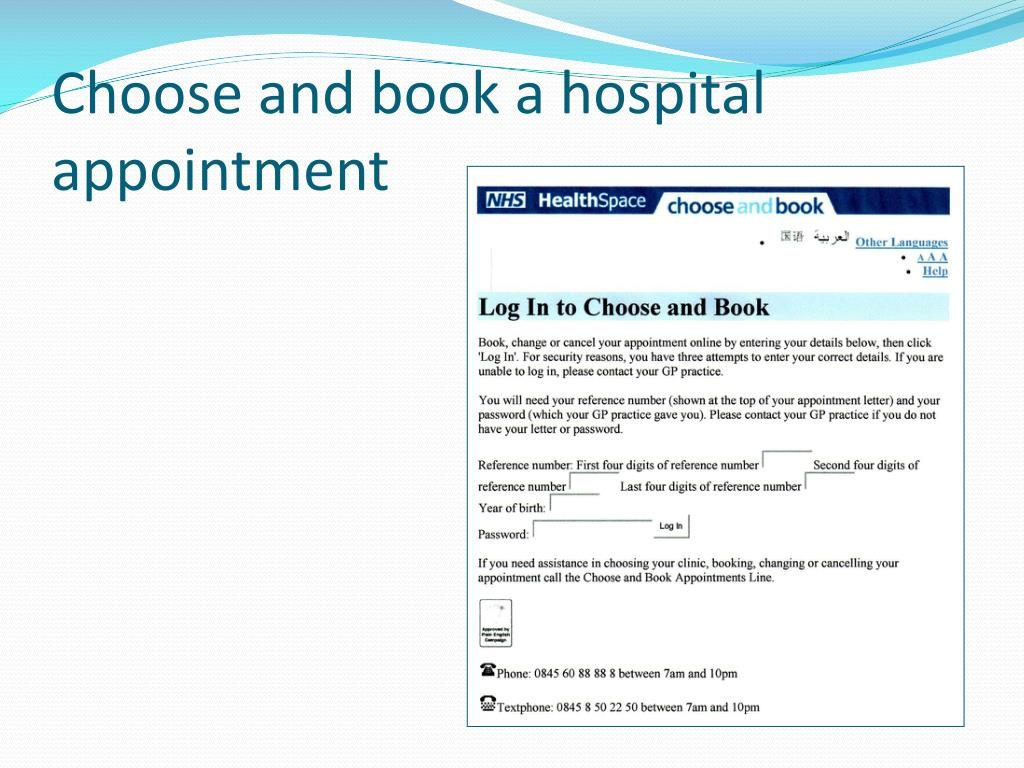Choose and book a hospital appointment