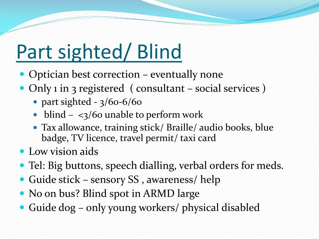 Part sighted/ Blind