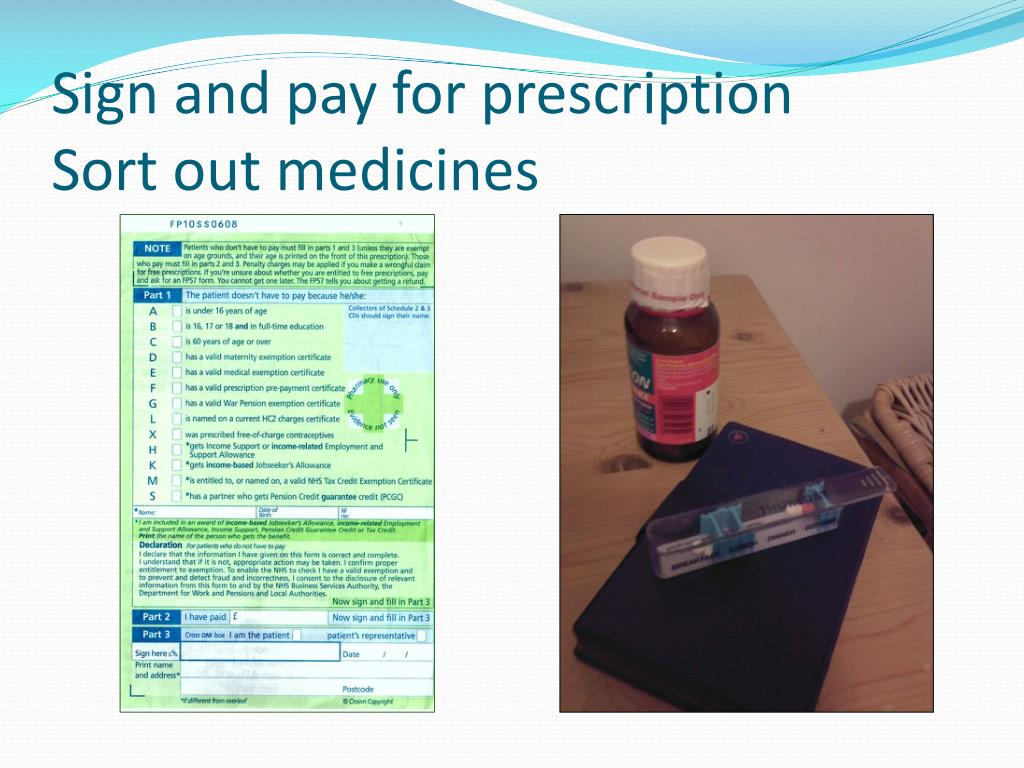 Sign and pay for prescription
