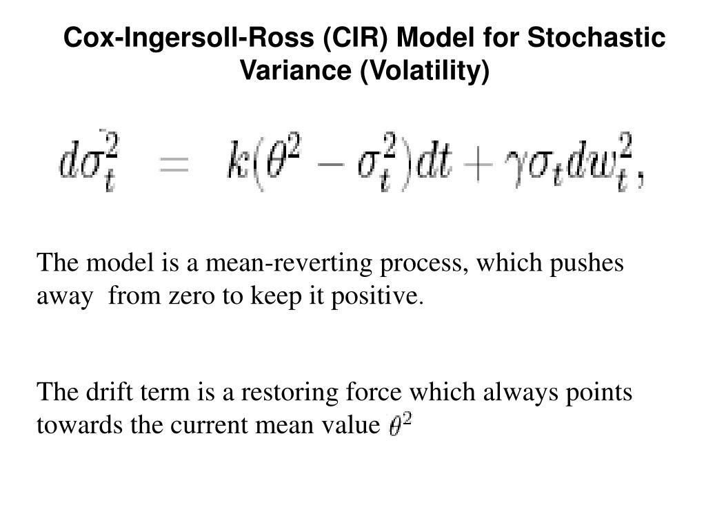 Cox-Ingersoll-Ross (CIR) Model for Stochastic Variance (Volatility)