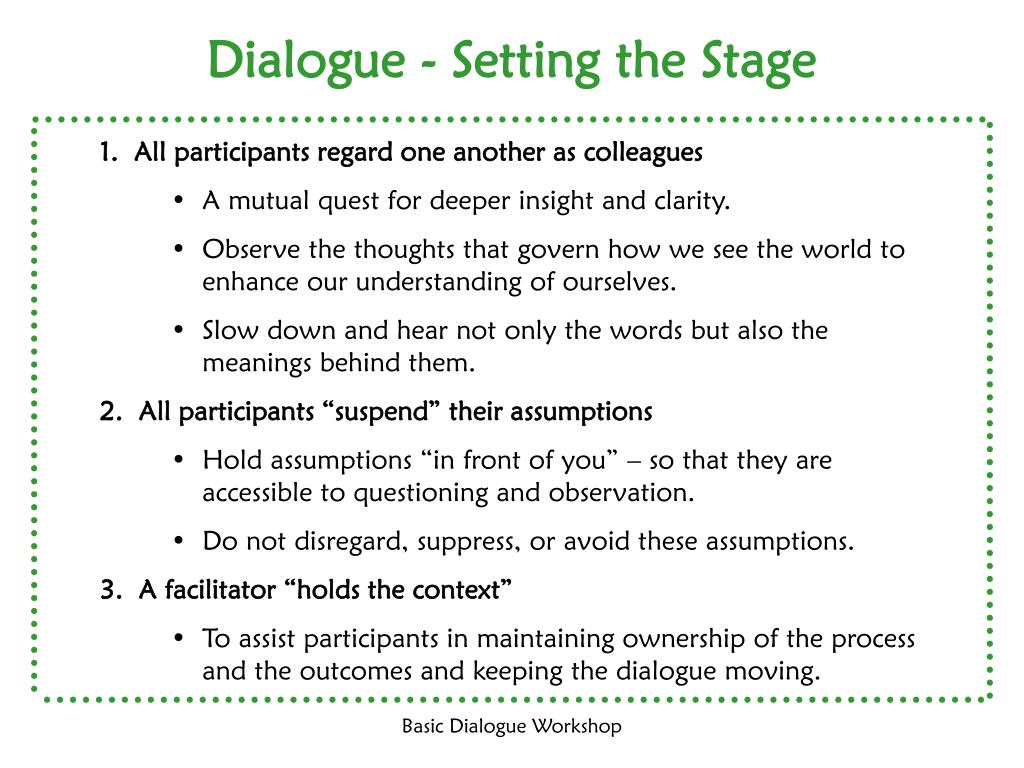 Dialogue - Setting the Stage