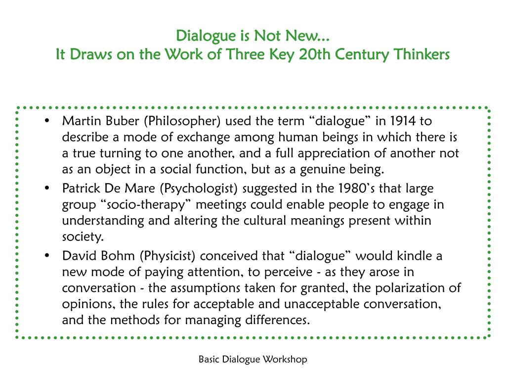 Dialogue is Not New...