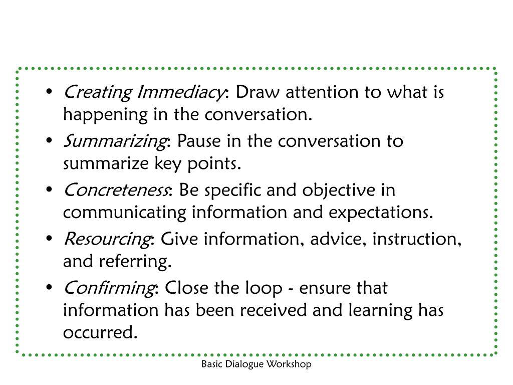 Creating Immediacy