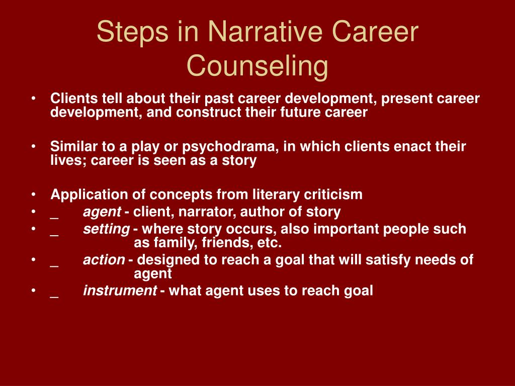 Steps in Narrative Career Counseling