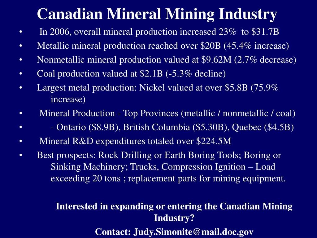 Canadian Mineral Mining Industry