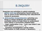 b inquiry