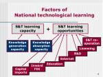 factors of national technological learning
