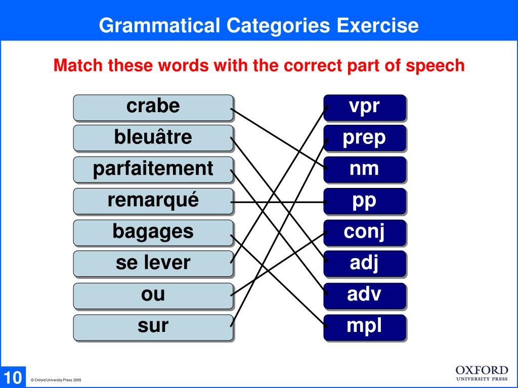 Grammatical Categories Exercise