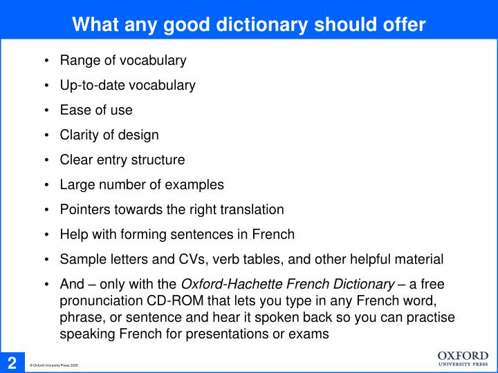 What any good dictionary should offer