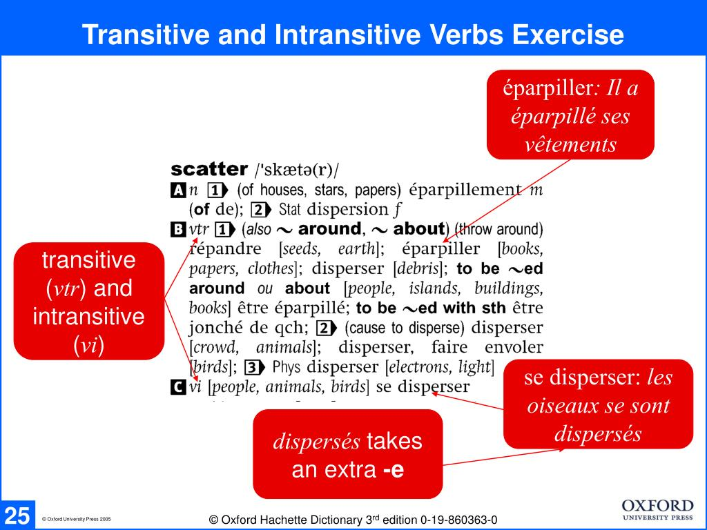 Transitive and Intransitive Verbs Exercise