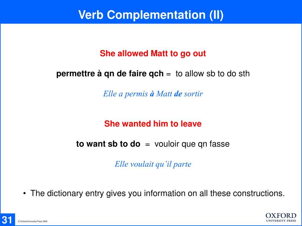 Verb Complementation (II)