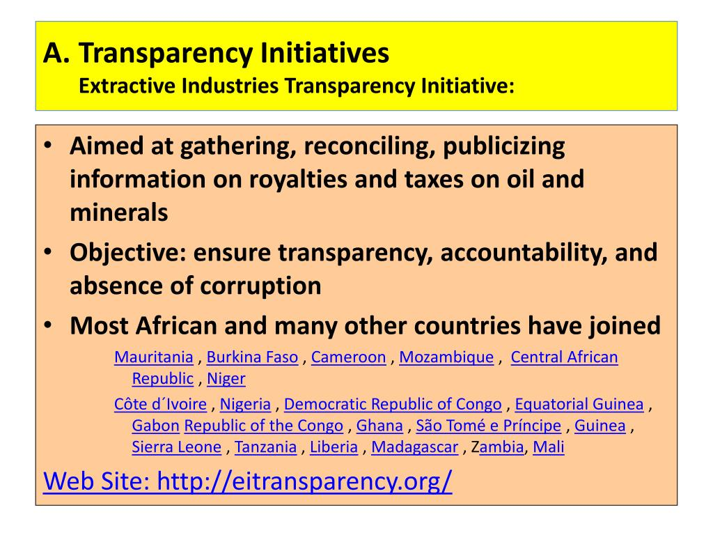 A.	Transparency Initiatives