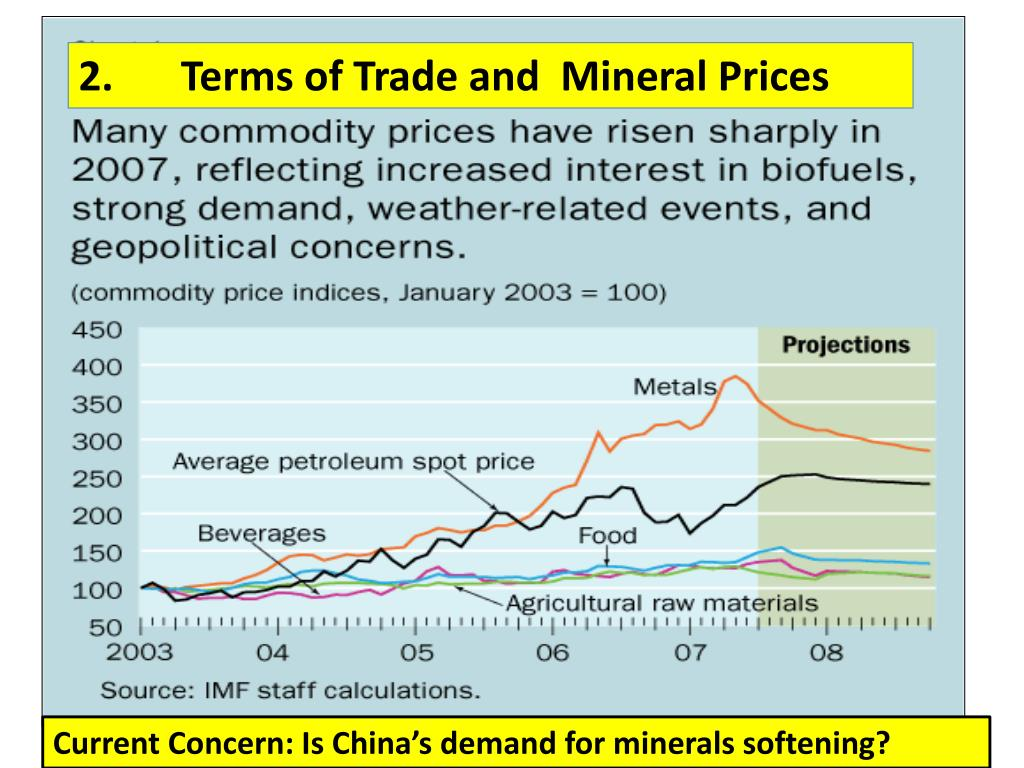 2.	Terms of Trade and  Mineral Prices