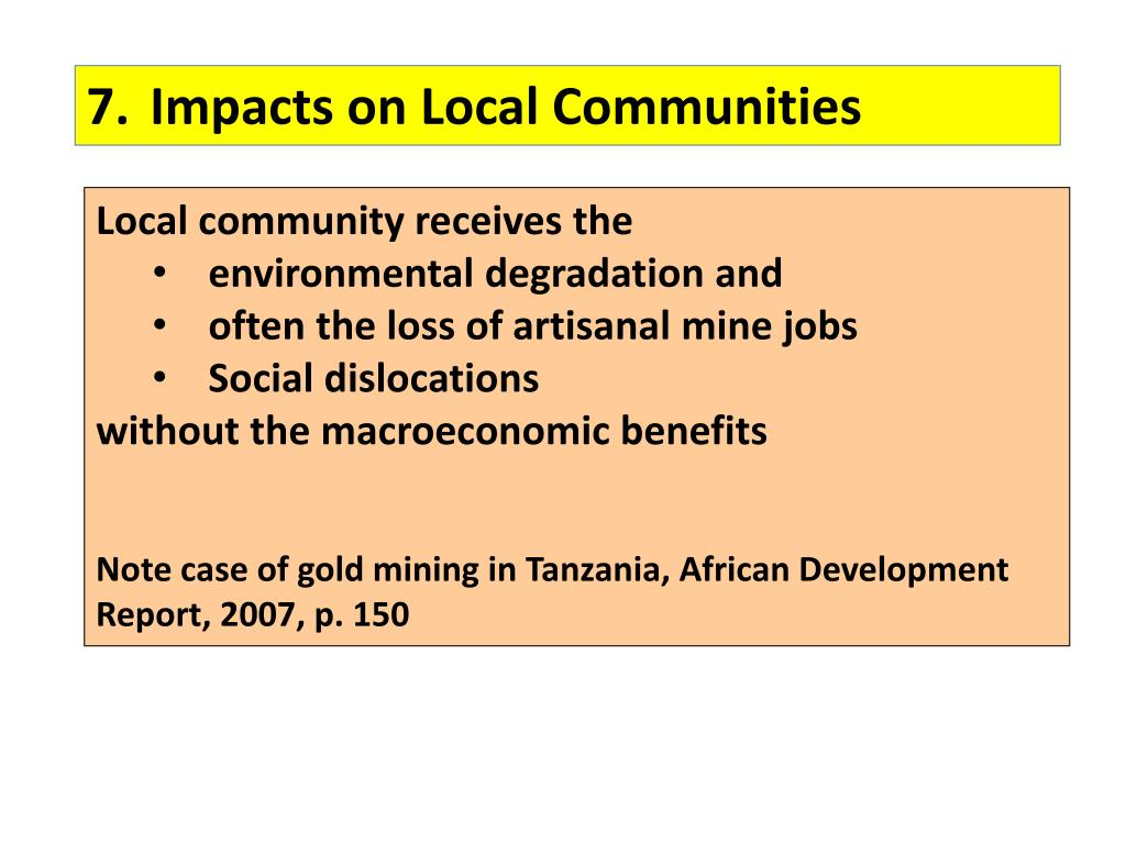 7.	Impacts on Local Communities