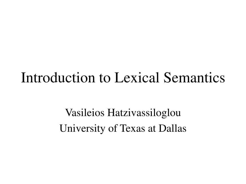 introduction to lexical semantics