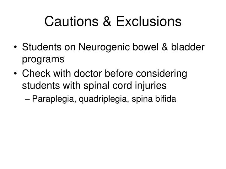 Cautions exclusions
