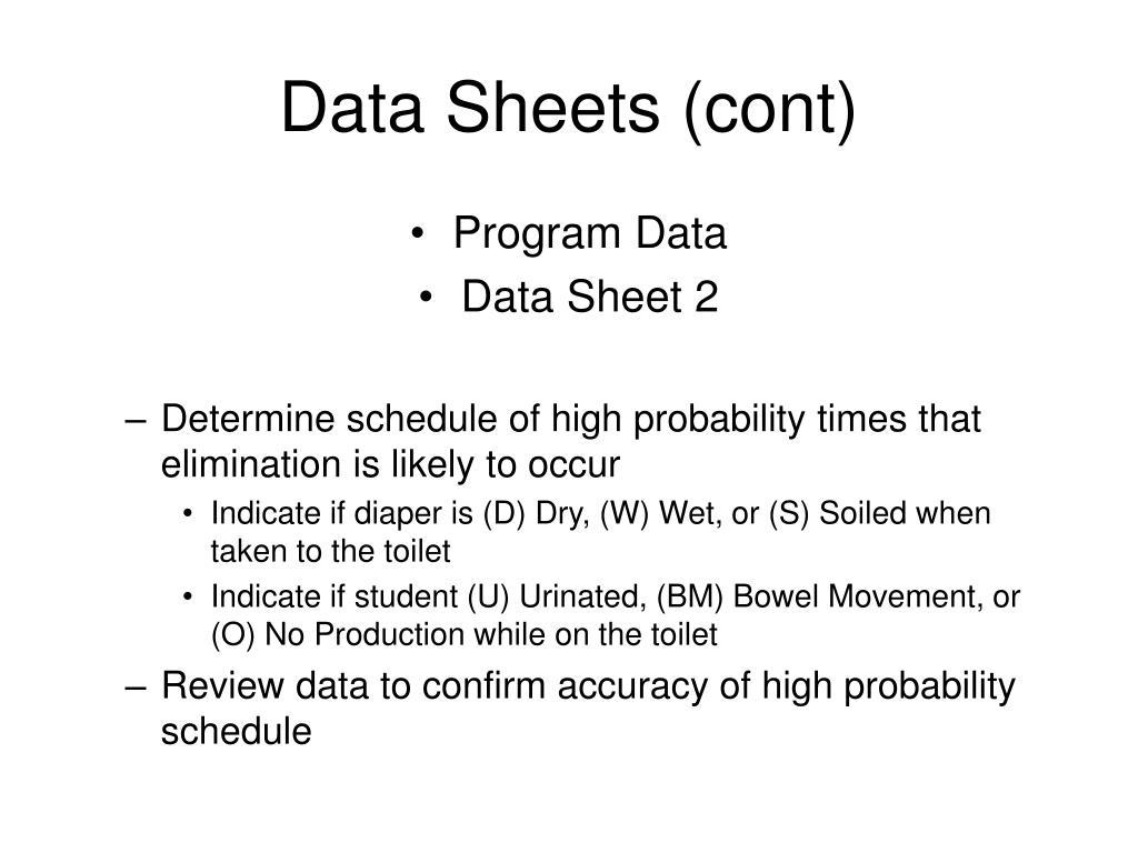 Data Sheets (cont)