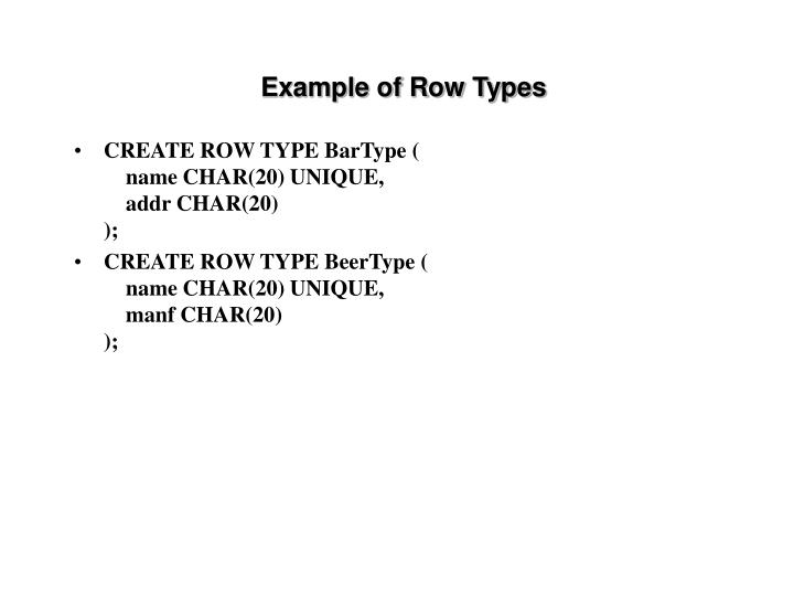 Example of Row Types