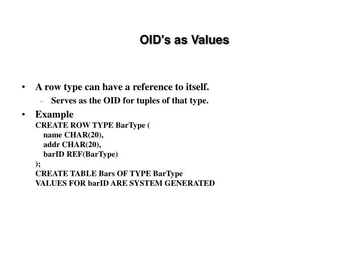 OID's as Values