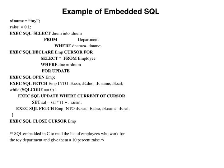 Example of Embedded SQL