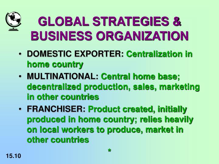 domestic exporter multinational franchiser and transnational Before attempting an answer, let's start by looking at what the term multinational actually means crudely speaking, multinational enterprises (mnes) are corporations with headquarters in one country and affiliates, subsidiaries or merged operations in one or several others.
