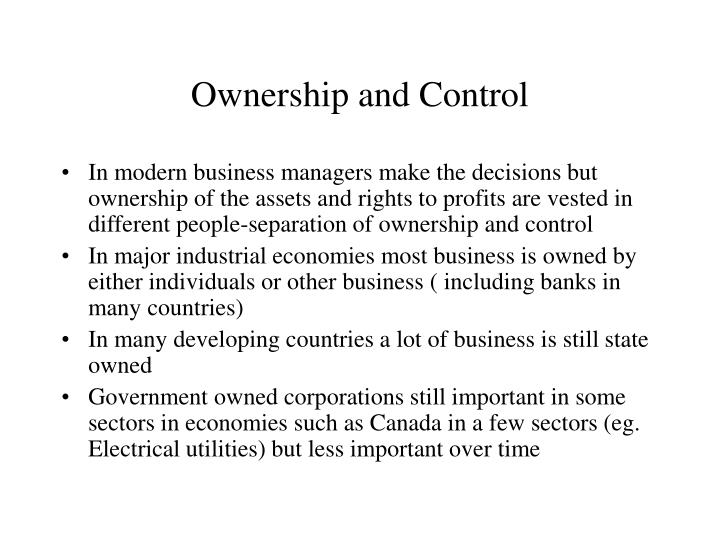 Ownership and control