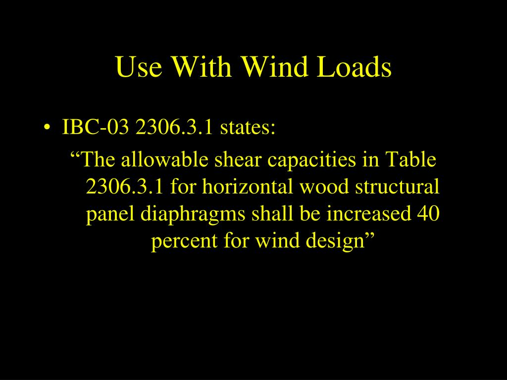 Use With Wind Loads