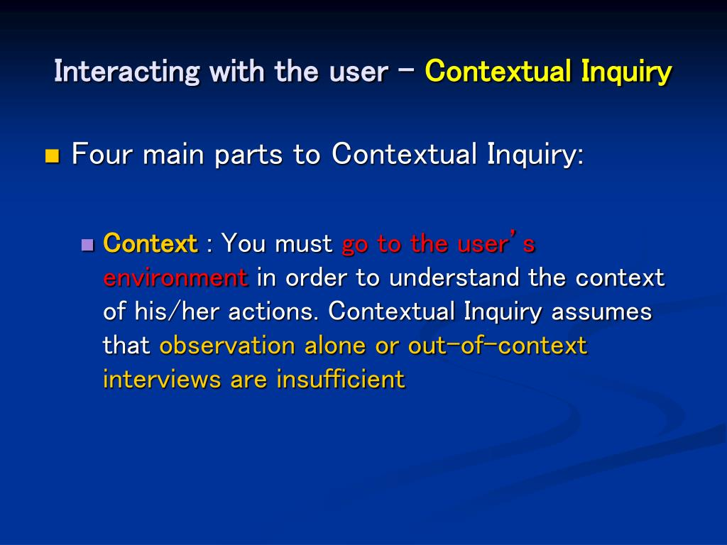 Interacting with the user -