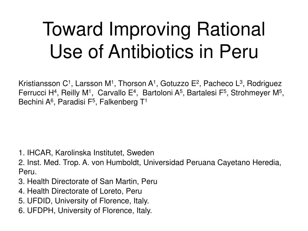 Toward Improving Rational Use of Antibiotics in Peru