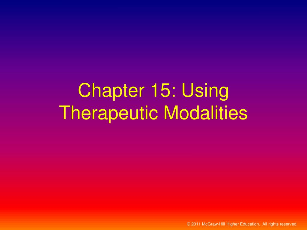 chapter 15 using therapeutic modalities l.