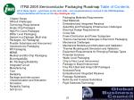 itrs 2005 semiconductor packaging roadmap table of contents