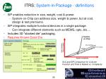 itrs system in package definitions
