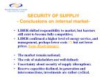security of suppliy conclusions on internal market