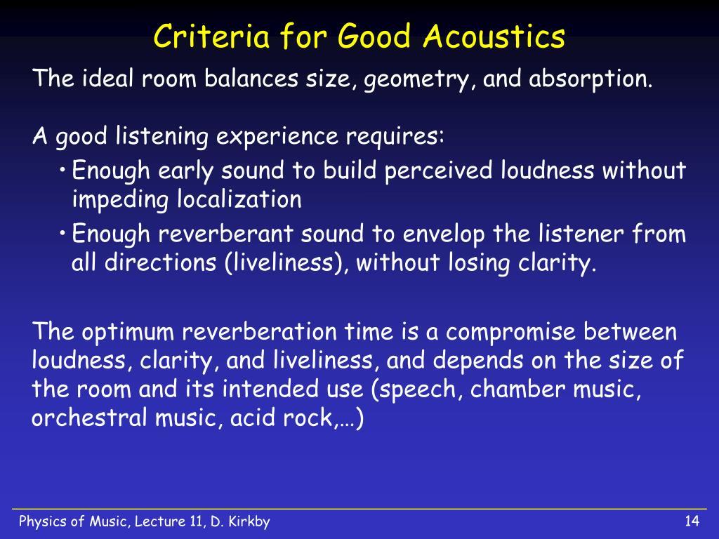 Criteria for Good Acoustics