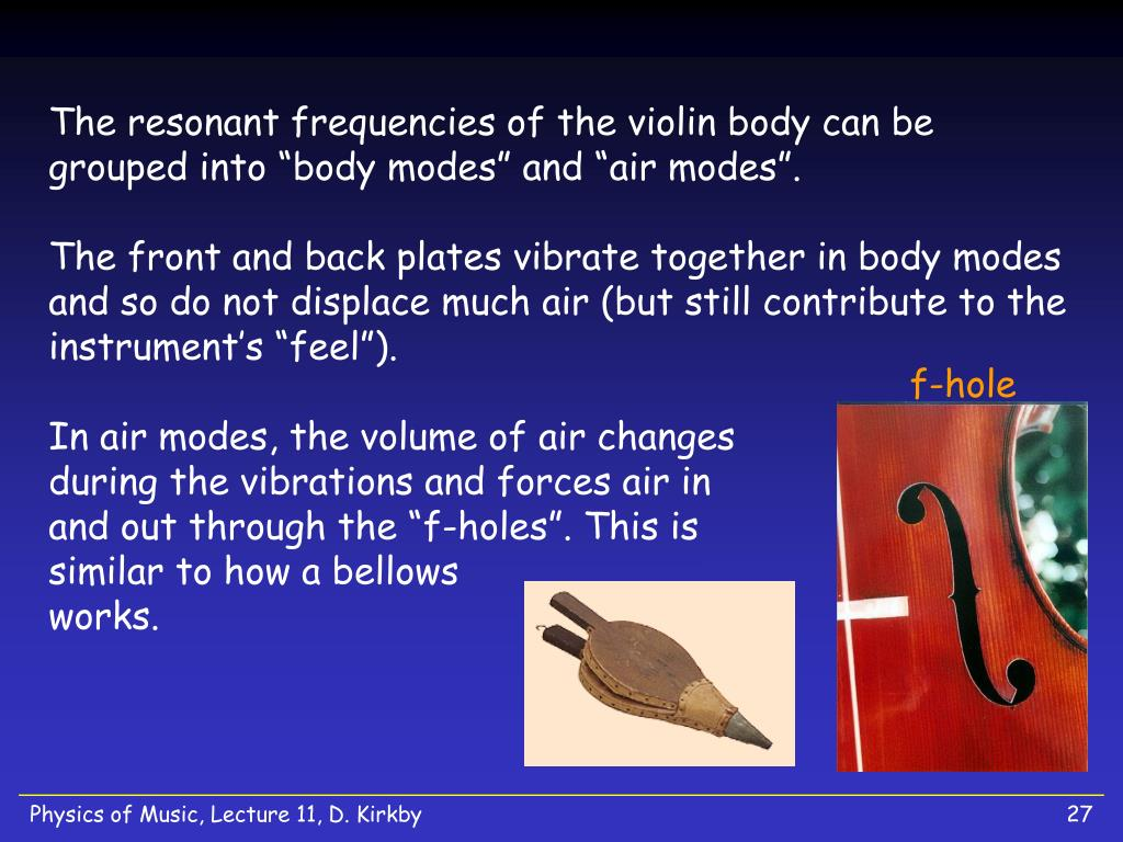 """The resonant frequencies of the violin body can be grouped into """"body modes"""" and """"air modes""""."""