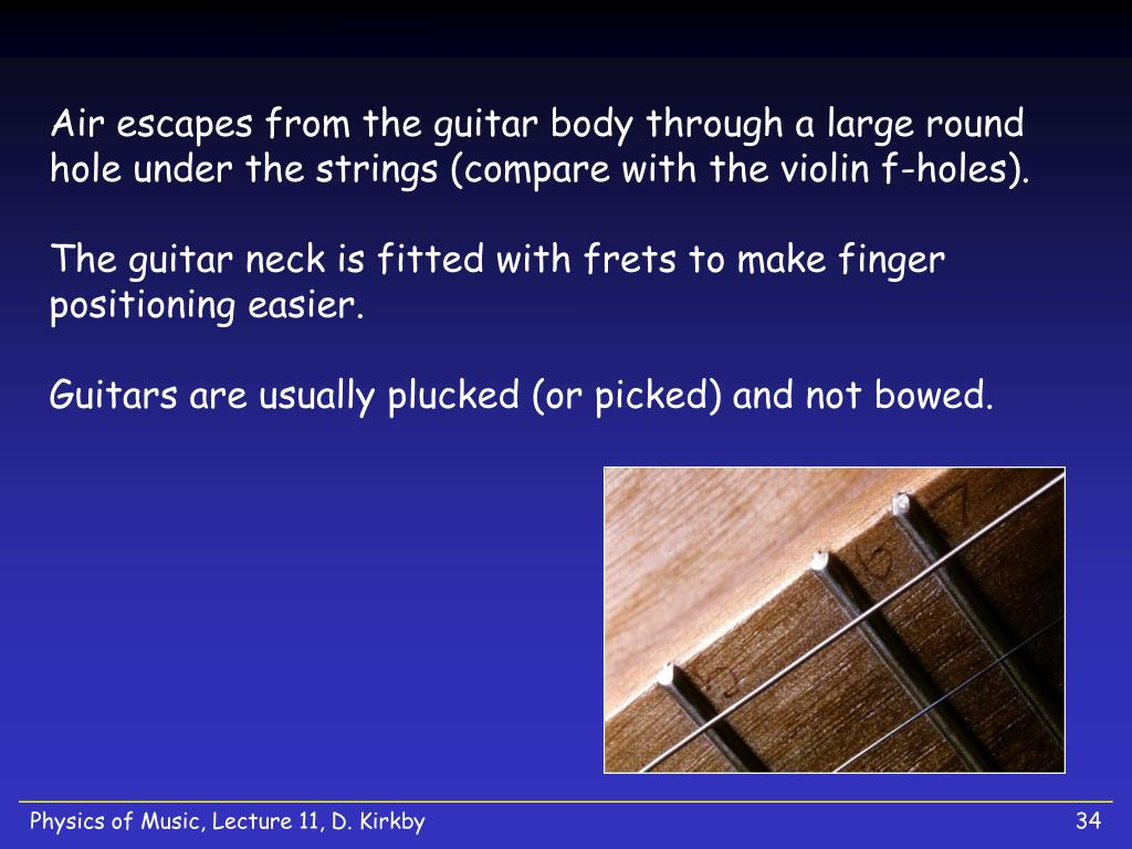 Air escapes from the guitar body through a large round hole under the strings (compare with the violin f-holes).