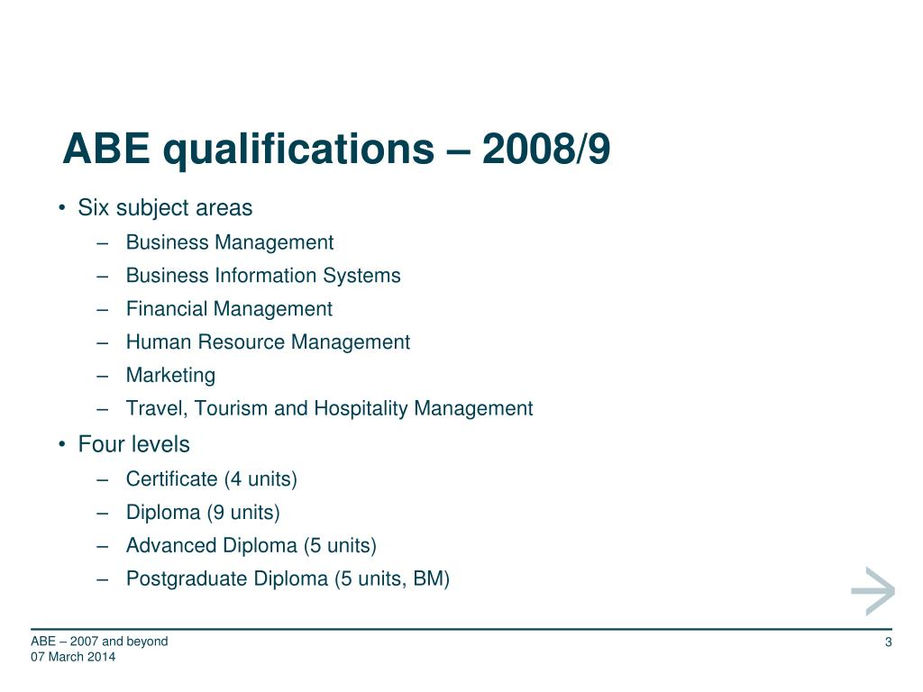 ABE qualifications – 2008/9