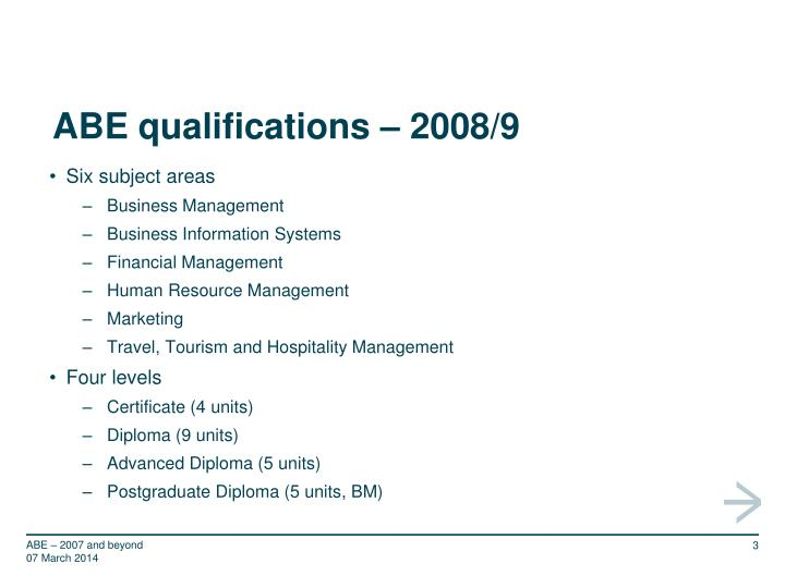 Abe qualifications 2008 9