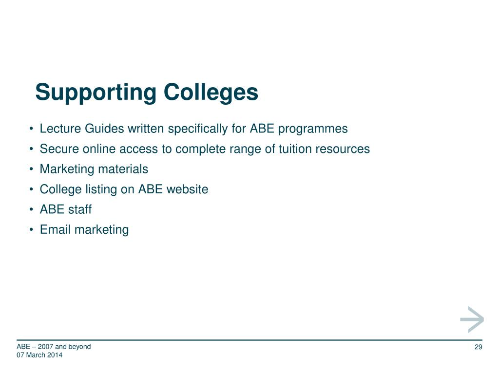 Supporting Colleges